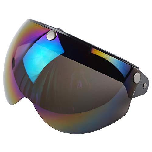 VCOROS 3 Snap 3/4 Helmet Shield with FLIP UP Hinge for TORC T50 Vintage Motorcycle Helmets (Rainbow)