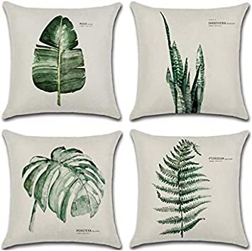Aremazing Throw Pillow Covers Tropical Green Leaf Plant Dercorative Throw Pillow Case Cushion Cover Protector For Home Sofa Couch,Set of 4 (4 Pack Green Fern) - 24