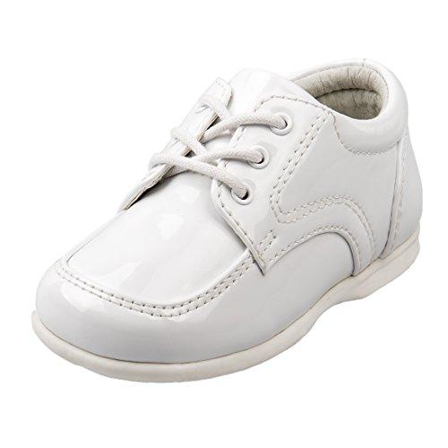 Josmo Baby Boy's First Steps Walking Dress Shoe, White Patent, 5 M US Toddler ()