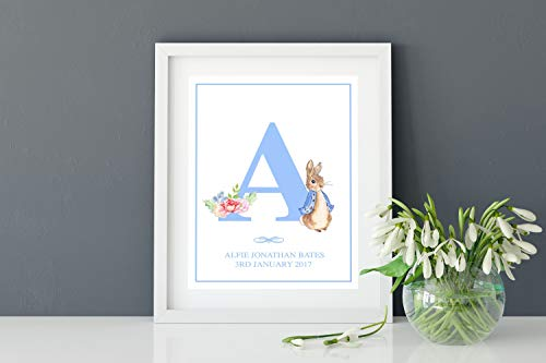 MalertaART Personalised Watercolour Peter Rabbit Alphabet Monogram Word Art Print New Baby Nursery Christening Gift Wall Art Keepsake Blue Framed Wall Art ()