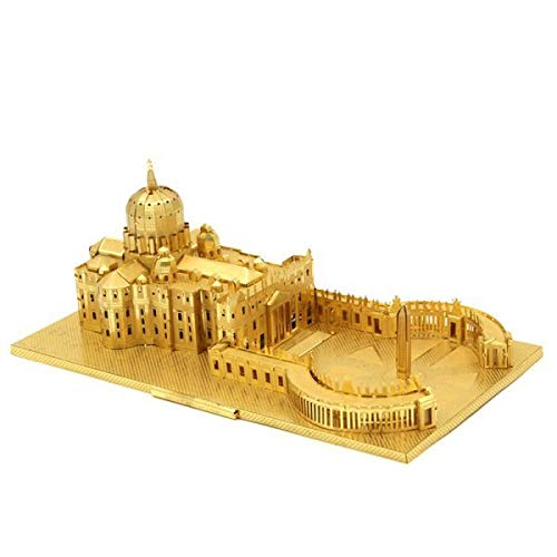 Microworld 3D Metal Puzzle Italy St. Peter's Basilica Architectural Building Model J008-G DIY 3D Laser Cut Assemble Jigsaw Toys - Gold