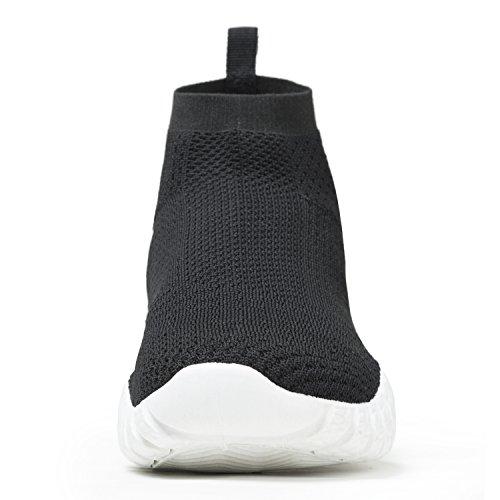 ESDY Herren Laufschuhe, leichte Breathable beiläufige Sport-gehende Schuhe Mode Turnschuhe Schwarz-Weiss