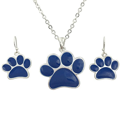 (Paw Print School Spirit Mascot Silver Tone Necklace & Earring Set - Assorted colors (Blue))