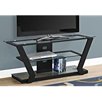 Monarch I 2588 TV Stand-48 L Metal with Tempered Glass, Black
