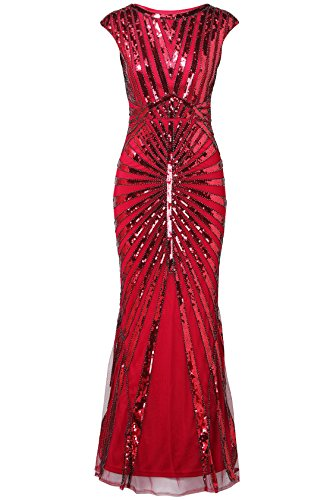 0s Vintage Long Sequined Evening Dress Roaring 20s Flapper Gatsby Dress for Costume Party (Wine Red, X-Small) (Sequined Long Gown)