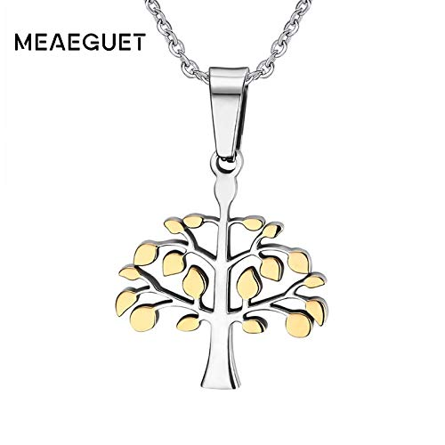 Metal Color: PN-360G Davitu Trendy Mens Life Tree Pendants Gold-Color Necklace Pendants for Women Stainless Steel Mens Jewelry