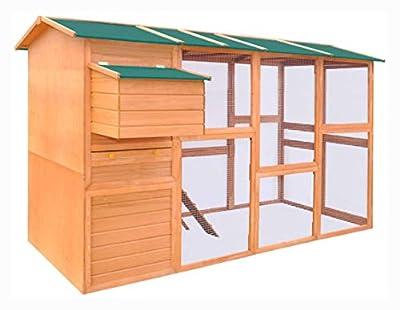 "PROGLEAM Small Animal Habitat & Cage, Chicken Coop Wood 116""x64.2""x67"""