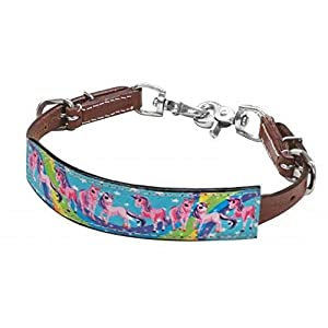 Showman Pink Purple Turquoise Pony Unicorn Print Rainbow Leather Wither Strap for Saddle