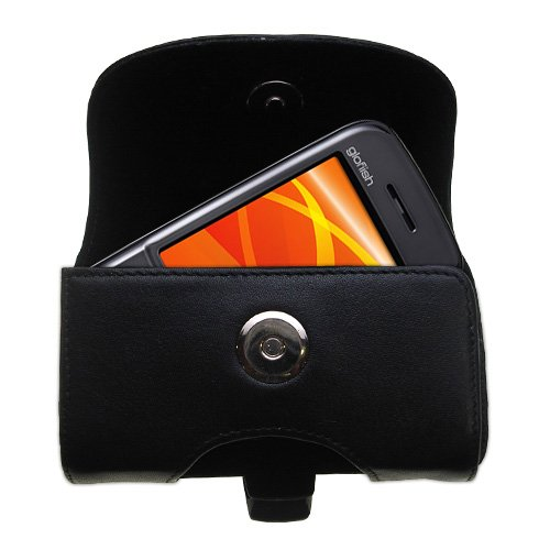(Belt Mounted Leather Case Custom Designed for the ETEN M810 M800 - Black Color with Removable Clip by Gomadic )