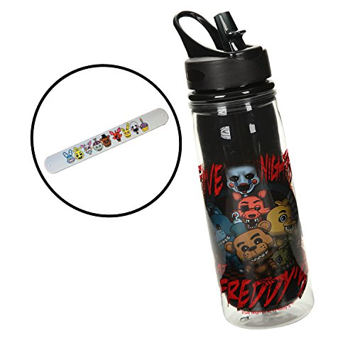 [Five Nights at Freddy's 16 oz Water Bottle with Slap Bracelet] (5 Guy Halloween Costumes)