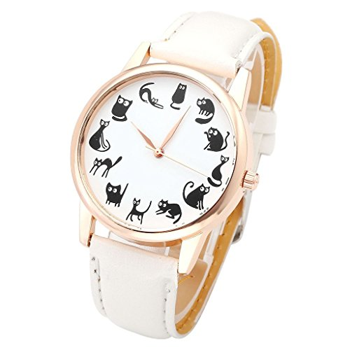 Top Plaza Fun Animal Series Twelve Cute Cats Scale Rose Golden Case PU Leather Strap Womens Girls Quartz Wrist Watch,White 41TG8B8t4OL