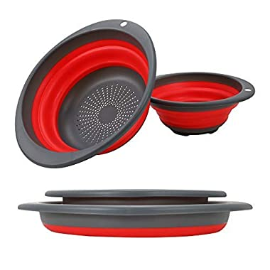 Collapsible Colander set - 2 Collapsible Set, Learja Upgrade Food-Grade Silicone kitchen Strainer Space-Saver Folding Strainer Colander, Sizes 8 inches - 2 Quart, and 10 inches - 4 quart. (red)