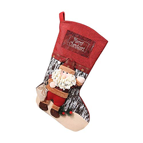 IMSHI Classic Oversized Christmas Stockings - Santa Claus Snowman Elk Pattern Socks - Xmas Party Mantel Decorations Ornaments - Christmas Stocking for Kids Gifts, Christmas Decoration