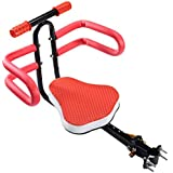 Bicycle Seat for Child, Alonea Quick Dismounting Front Mount Baby Carrier/Baby Chair, Adjustable Safety Seat for Kids Children Infant Toddler 2.5-6 Years (UP to 110 Pound) (Red (Handrail+Guard Net))