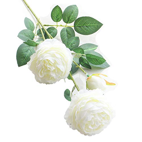 Artfen 5 Pack 3 Heads Artificial Silk European Rose Flower Peony Flower Long Stem Fake Plastic Flowers Home Garden Party Wedding Decoration DIY Wreath approx 26'' High ()