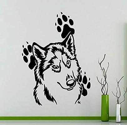 Cabeza de lobo patrón lindo con huellas Arounds vinilo tatuajes de ...