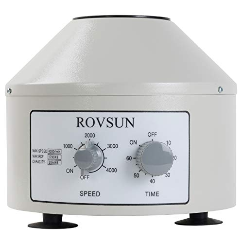 ROVSUN Desktop Electric Centrifuge Machine Laboratory Medical Practice,Timer(0-60min) and Speed(0-4000rpm) Control Capacity 20 ml x 6 Tubes,110V Low Speed Portable Benchtop Centrifuge (Small Benchtop Centrifuge)