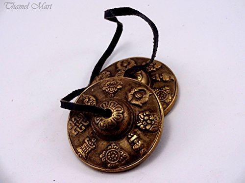 Hand Tuned to Key of Om - 2.75'' Tingsha Tibetan Bell (Chimes) Buddhist Lucky Symbols (Medium) by thamelmart