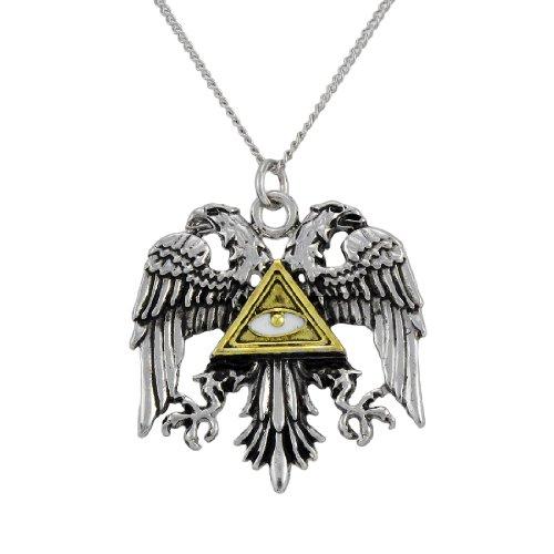 Byzantine Eagle Pewter Pendant w/ Link Necklace Power and Glory (Stone Pendant Pewter)