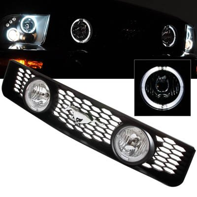 05-09 Ford Mustang V6 Dual Halo GT Style Fog Lights Grill(Clear ()