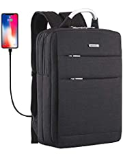 YOUPECK Slim Water Resistant Laptop Backpack 15.6 15 Inch Travel Gear Bag Business Trip Computer Daypack with USB Charging Port,Black