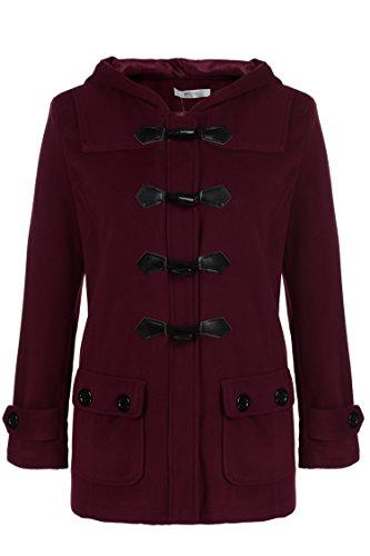 Meaneor Damen Dufflecoat Klassisch Wollmantel Taschen mit Kapuze