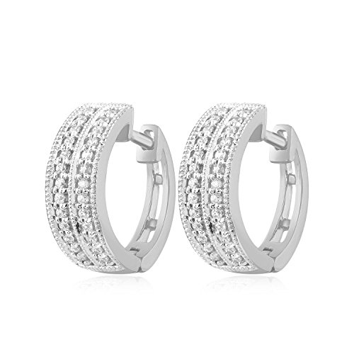 Carats For You 10k White Gold 0.21ct Genuine Real Brilliant Round Cut Natural Diamond 2 Row Pave Huggie Hoop Earrings for women 2 Row Pave Diamond
