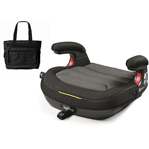 Peg Perego Viaggio Shuttle Backless Booster – Crystal Black with Stylish Diaper Bag