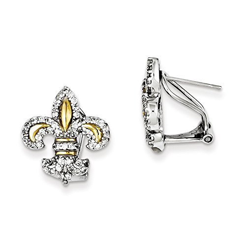 .925 Sterling Silver 20 MM Vermeil Fleur De Lis CZ Omega Back Earrings