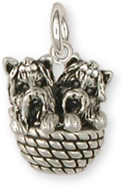Yorkie Yorkshire Terrier  Charm Jewelry Sterling Silver Yorkie Yorkshire Terrier  Dog Charm YK17-C