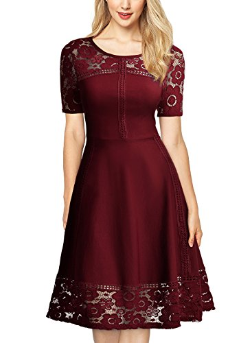 MissMay Women's Vintage 1950s Floral Lace Contrast Elegant Cocktail Swing Dress Wine Red Small
