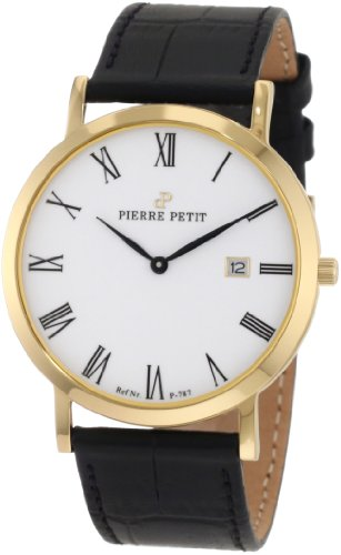 Pierre Petit Men's P-787D Serie Nizza Classic White Dial Yellow-Gold PVD Case Watch