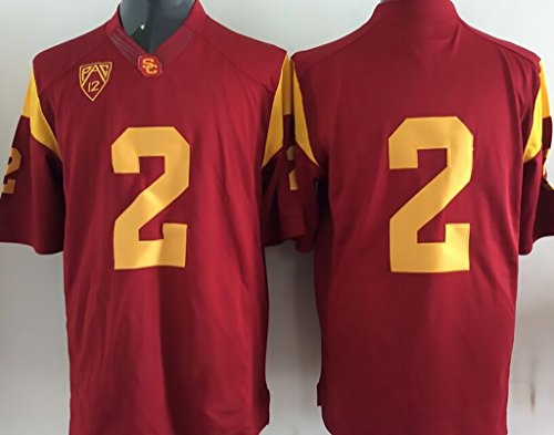 Men's NCAA Football Shirt USC Trojans NO.2 NCAA Men's USC Trojans Football Jersey Medium
