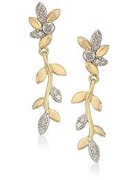 10k Yellow Gold Diamond Vine Post Drop Earrings (1/10 cttw, I-J Color, I3 Clarity)