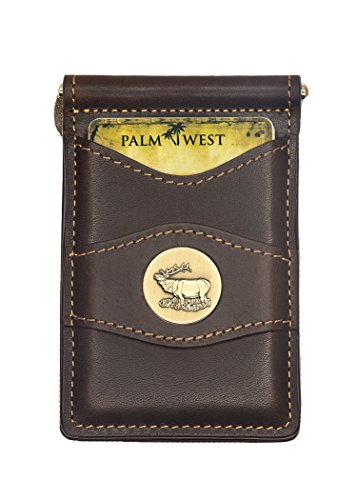 Brown Elk (Palm West Leather Minimalist Leather Money Clip Wallet with RFID - Medal (Dark Brown Leather, Bull Elk Medallion))