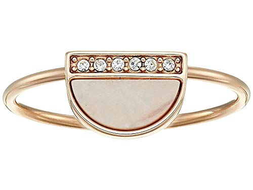 - Fossil Women's Pink Mother-of-Pearl Ring Rose Gold 8