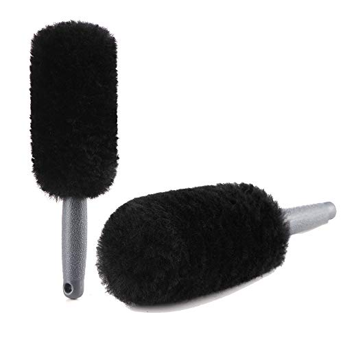 - Lambs Wool Spoke Wheel Brush,No scratch Rim Tire brush, Perfect to squeeze spokes,slots, bolts