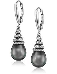 Sterling Silver Tahitian Cultured Black Pearl and Diamond Dangle Earrings