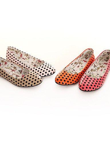 Caqui 7 5 Casual punta 5 talón rojo mujer cn37 5 us6 Flats naranja de plano sintética eu37 redonda zapatos red piel PDX uk4 rosa de fZgHPBq