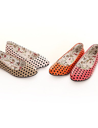 de piel rosa talón zapatos plano punta redonda 5 red sintética Flats eu37 Caqui 5 Casual PDX 7 de naranja uk4 cn37 5 us6 rojo mujer q7xFnIwYEp