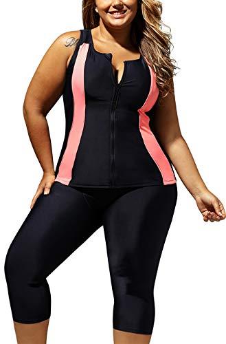 GLUDEAR Women's Plus Size Contrast Zipped Rash Guard Capris Tankini Athletic Wetsuit,XL Orange Black