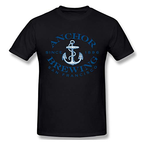 Men's Anchor Brewing Oval Logo Graphic Tee Novelty Short Sleeve T Shirt 4XL Black
