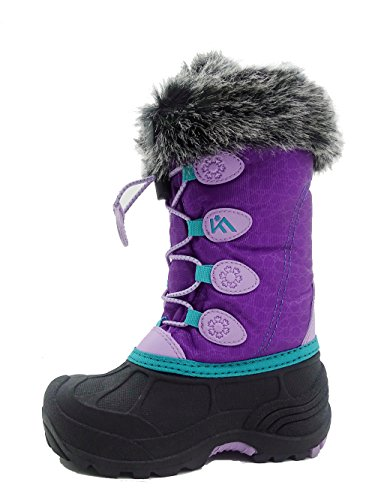 Kids Winter Snow Boots Waterproof and Insulated for Girls and Boys (7 M US Big Kid, Purple) (Snow Purple Boots)