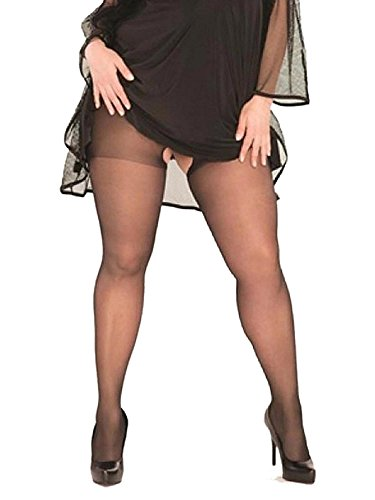 Womens Sexy Plus Size Black Sheer Crotchless Pantyhose Hosiery Stockings Tights- Fits size 16-20