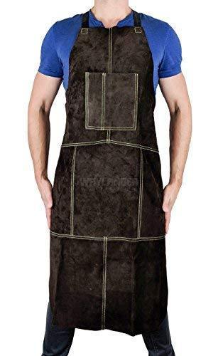 Waylander Leather Welding Apron Flame Resistant Heavy Duty Bib 40 Dark Brown with Adjustable Cross Back Apron Straps and Pocket for Men and Women