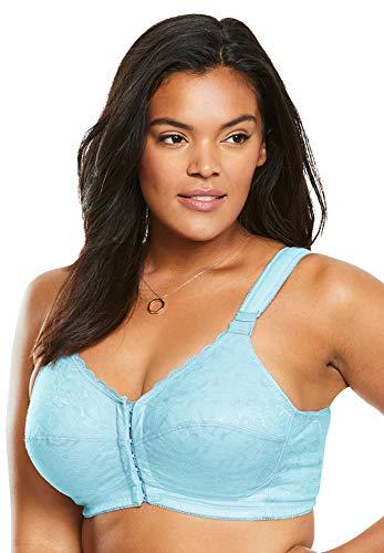 Comfort Choice Women's Plus Size Lace Wireless Posture Bra - Powder Turq, 52 G