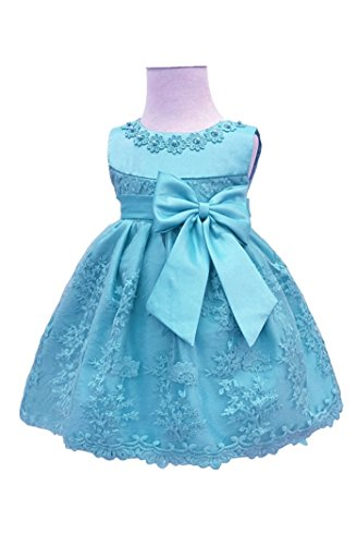 H.X Baby Girl's Newborn Bowknot Gauze Christening Baptism Dress Infant Flower Girls Wedding Dresses 12 Color (18M/13-18 Months, Blue)