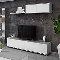 Habitdesign Mueble de Salon Moderno, Modulos de Comedor, Modelo Alida, Acabado en Blanco Artik y Gris Cemento, Medidas…
