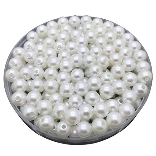 LKXHarleya 30pcs 10mm (White) Imitation Glass Pearls Round Beads Acrylic Loose Beads for DIY Jewelry Making Necklace Bracelet Earrings ()