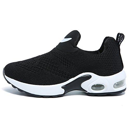 Kids Boys Girls Running Shoes Comfortable Fashion Light Weight Slip on Cushion(9.5, Black) - Image 2